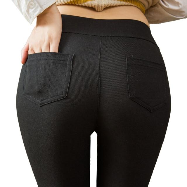 Plus Size Women Pencil Pants Cotton Trousers 2019 New Pocket Trousers Slim Jeggings Denim Skinny 34
