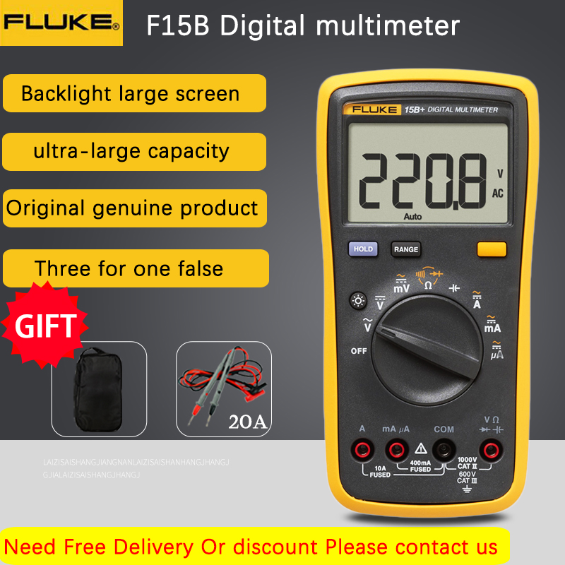 Fluke 15B+/17B+/18B+/12E+ Digital Multimeter Auto Range 4000 Counts AC/DC Voltage Current Resistance Meter Capacitance Tester