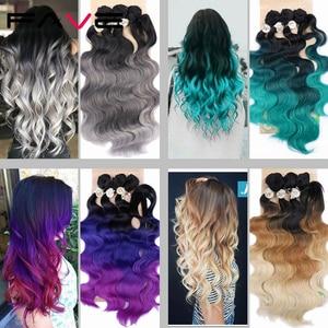 Image 4 - FAVE גוף גל שיער 3 חבילות עם סגירת סינטטי 4Pcs הרבה שחור כחול/סגול/ירוק/בלונד/אפור עבור שחור לבן נשים