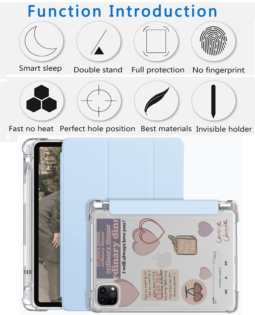 For iPad Pro 12 9 2020 semi transparent back Case with pencil holder case for Apple