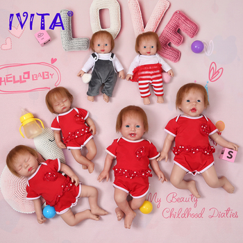 IVITA 100% Full Silicone Baby Dolls with Hair 3 Colors Eyes Choices Realistic Reborn Baby Dolls Newborn Lifelike Baby Toys Gift ivita 100