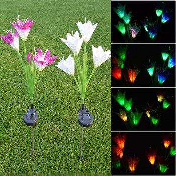 2 шт Красочный 4 светодиодный солнечный Лилия светодиодный солнечный декоративный фонарь Газон Свет Искусственный фонарь