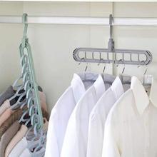 Colgador de ropa de 9 agujeros, organizador para ahorro de espacio, perchas mágicas plegables multifunción, estantes de secado, almacenamiento de ropa y bufanda
