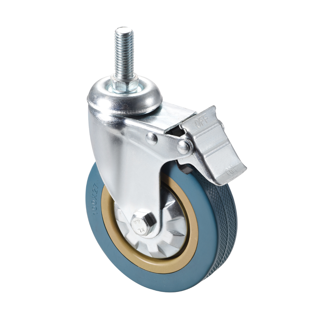 sourcing map Swivel Caster Wheels PU Caster 4 Inch Dia Wheel M12 x 60mm Threaded Stem 286lb Capacity 4pcs