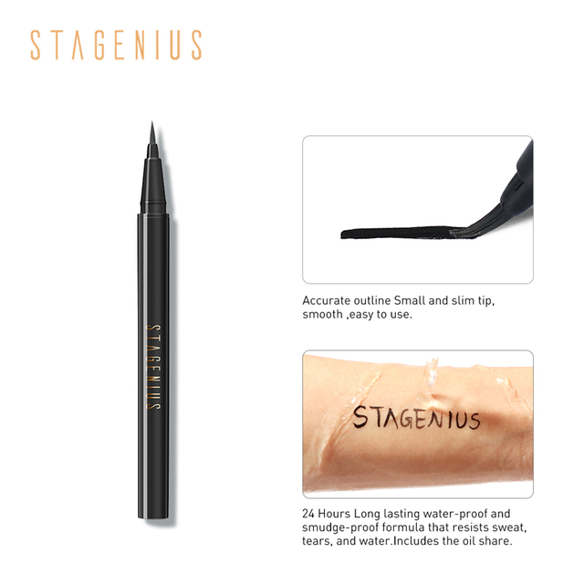 STAGENIUS 1pcs Eyeliner Pencil Waterproof Black Natural Super Long Lasting Makeup Liquid Eye Liner Pen 4
