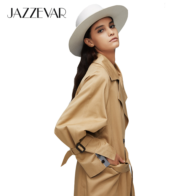 JAZZEVAR 2019 New Arrival Autumn Trench Coat Women Oversize Double Breasted Vintage Loose Clothing Womens Tops And Blouses 9008