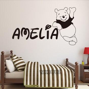 Nórdicos de Winnie el Pooh vinilos adhesivos en la pared del oso arte vinilo apliques mural decoración de la habitación de los niños etiqueta de la pared de S5