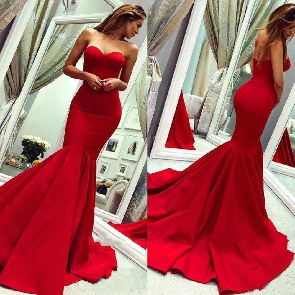 2020 Red   Prom     Dresses   Sweetheart Mermaid Special Occasion Gowns Sweep Train Backless Ruched Satin Celebrity Evening Wear