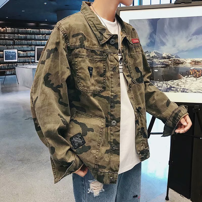 Hot 2019 Spring Autumn Camouflage Denim Jacket Men's Korean Trendy Students Cotton Casual Tooling Teenagers Coat Veste Homme