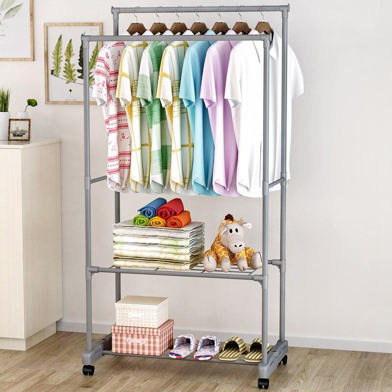 Mrosaa Stainless Steel Drying Racks Balcony Double Pole Floor Drying Home Living Room Bedroom Hangers Coat Rack Clothes Rod