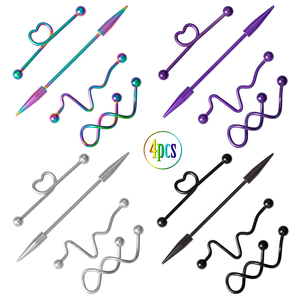 4PCS Surgical Steel Industrial Piercing Jewelry Pack Industrial Barbell Earrings Bar Stainless Cartilage Tragus Piercing Jewelry