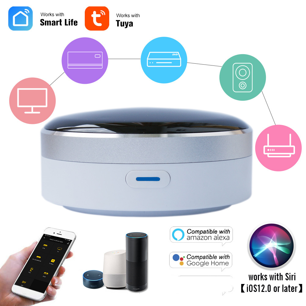 Universal IR Smart Remote Control WiFi Infrared Home Control Hub Tuya App Works with Google Home Alexa Siri