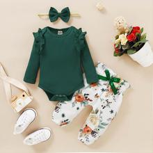 Newborn Girl Spring Outfits 9 Month Baby Girl Clothes Solid Green Ruffles Long Sleeve Romper Floral Print Pants Headband Sets