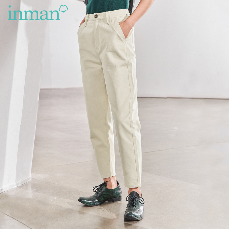 INMAN 2020 Spring New Arrival Literary Pure Cotton Pure Color Slimmed Taper Pencil Pant