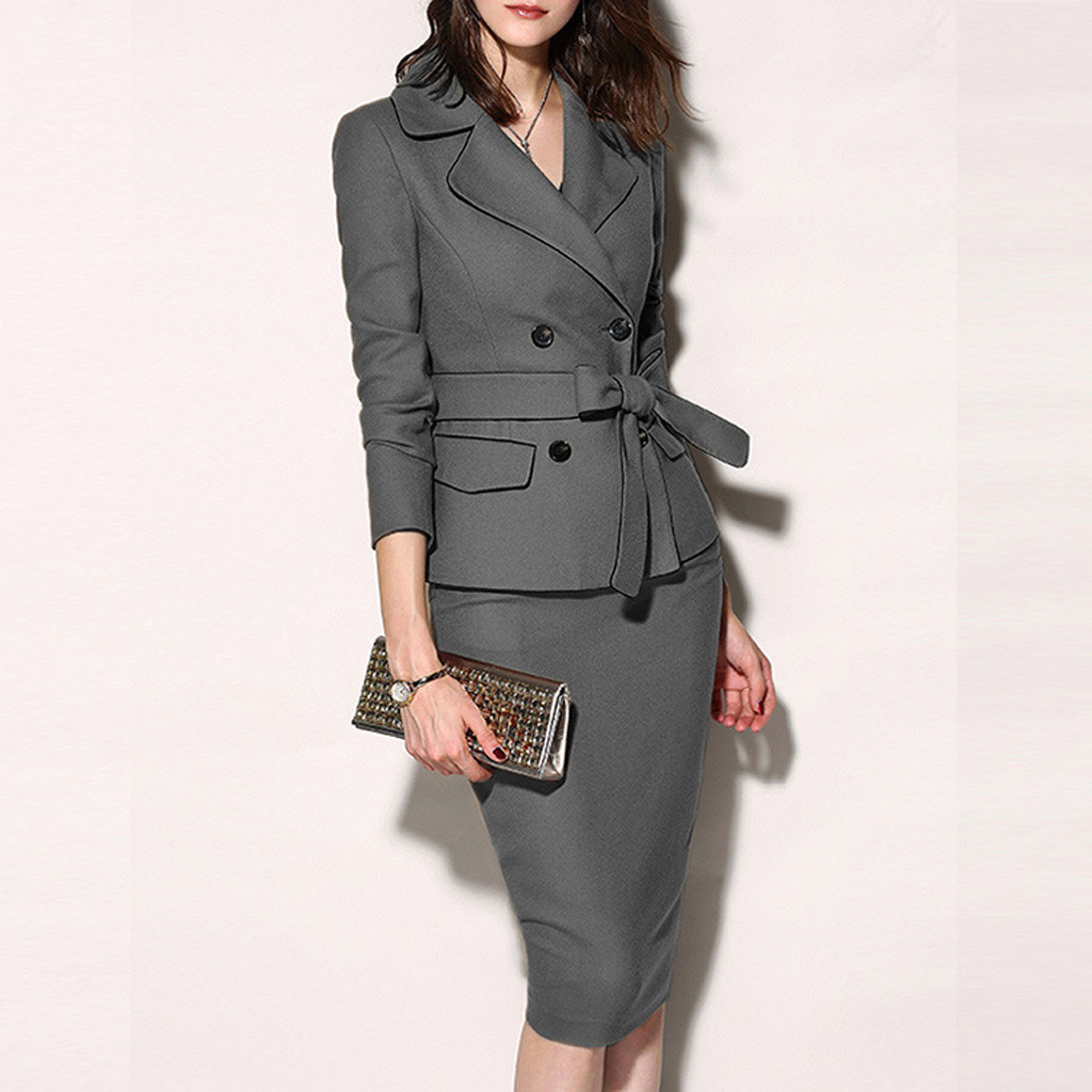 Women Fashion Solid Belt Suit Office Lady Turn Down Collar Button Long Sleeve Suit Sheath Zipper Skirt Pretty Elegant Suit