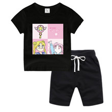 Little Boy Girl Anime Sailor Moon Cotton T-Shirt Summer Kid's DRAGON BAL Z Christmas Shirt Children Cartoon Toddler Tshirt цена
