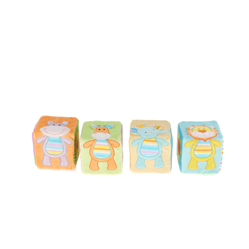 4 PCS Baby Soft Rattle Blocks Infant Early Education Toys,  Easy Grab And Stack Building Blocks Toy