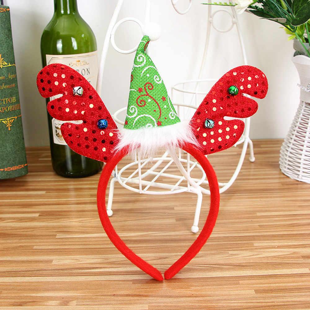 1PC Weihnachten waren Stirnband Santa Xmas Party Decor Doppel Haar Band Verschluss Kopf Hoop weihnachten haar zubehör navidad NEUE f924