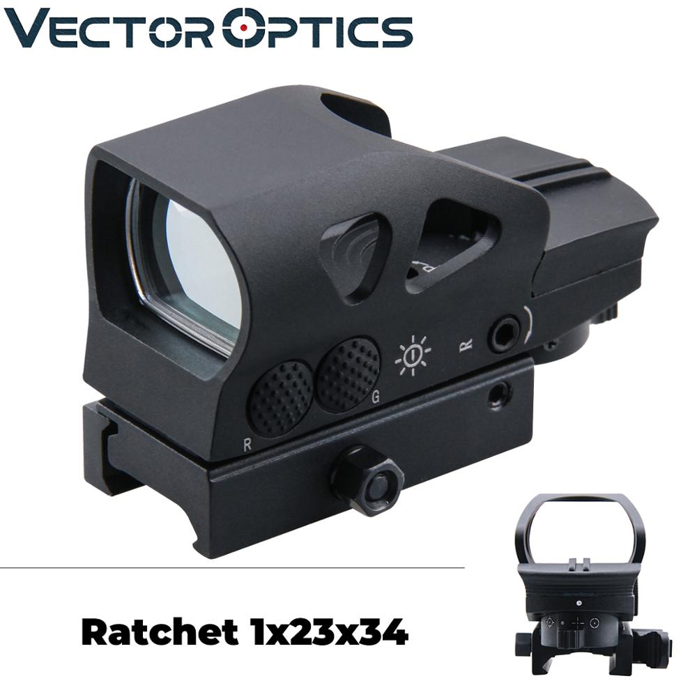 Vector Optics Gen2 Ratchet 1x23x34 Hunting Red Green Dot Scope 4 Reticle Open Sight With Picatinny Mount For AK 5.56 12ga .308