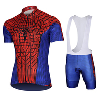 Marvel Adventures Cycling Kits Spiderman Cycling Jersey Set Pro Cycling Clothing Set Bicycle Short Jersey+Bib Short Set XS 5XL