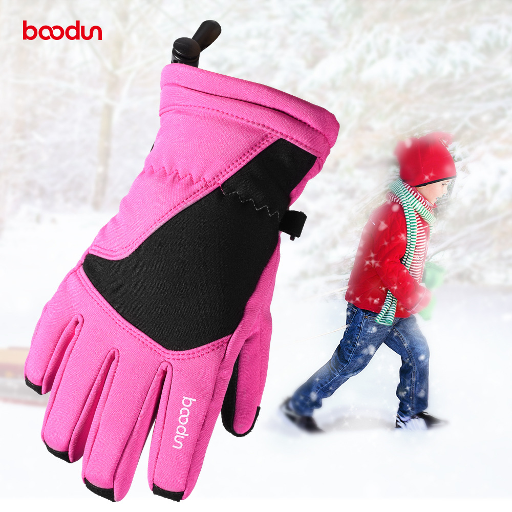 Boodun Burton 4-10-Year-Old Solid Color Children Ski Gloves Skating Cartoon Outdoor Cold Warm Gloves Winter