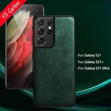 YTF – coque en cuir artificiel pour Samsung Galaxy S21 Ultra, en carbone, en daim véritable, Alcantara, Note 20/S20 PLUS /S21 +