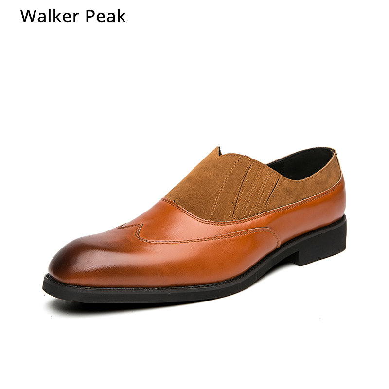 Men Business Dress Shoes Fashion Lace up Flats Genuine Leather Formal Office Loafers Party Wedding Oxfords Shoes Male WalkerPeak