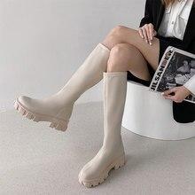 Mulheres botas de plataforma senhoras meados de bezerro botas mulher sólida sapatos femininos outono inverno feminino fundo grosso apartamentos senhoras botas quentes
