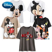 Disney Leuke Mickey Mouse Cartoon Afdrukken O-hals Trui Korte Mouw Wit Chic T-shirt Casual Mode Vrouwen Losse Tee Tops(China)