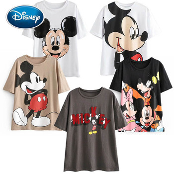 Disney Cute Mickey Mouse Cartoon Print O-Neck Pullover Short Sleeve White Chic T-Shirt Casual Fashion Women Loose Tee Tops цена 2017