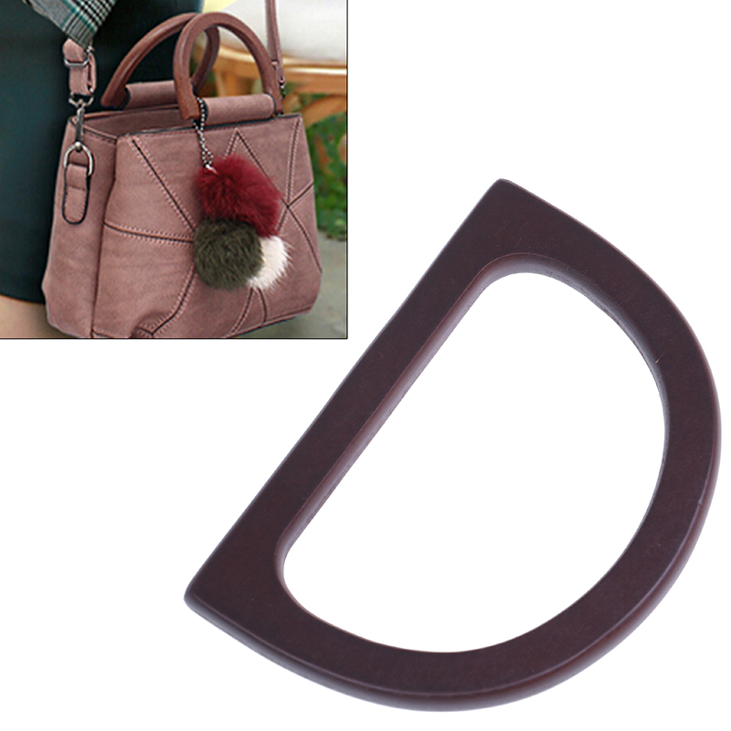 Fashion D-shaped Wooden Handbag Bag Parts Accessories Replacement Handle For Handbag  DIY Wooden Replacement Bag Handle