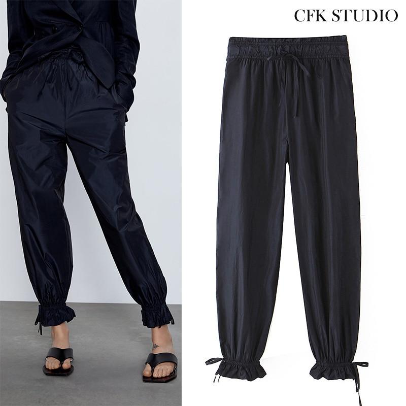 Za 1:1 Women Long Pants With Elastic Waist Ruffles Solid Straight Trousers Femme Chiffon Elegant Casual Black Pants