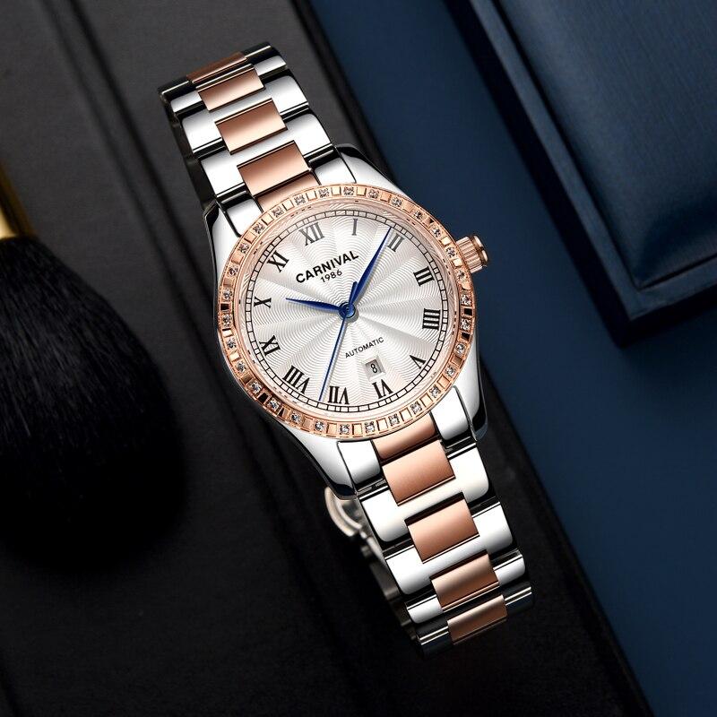 Carnival automatic watch women mechanical luxury brand original movement waterproof date watches gift for friend