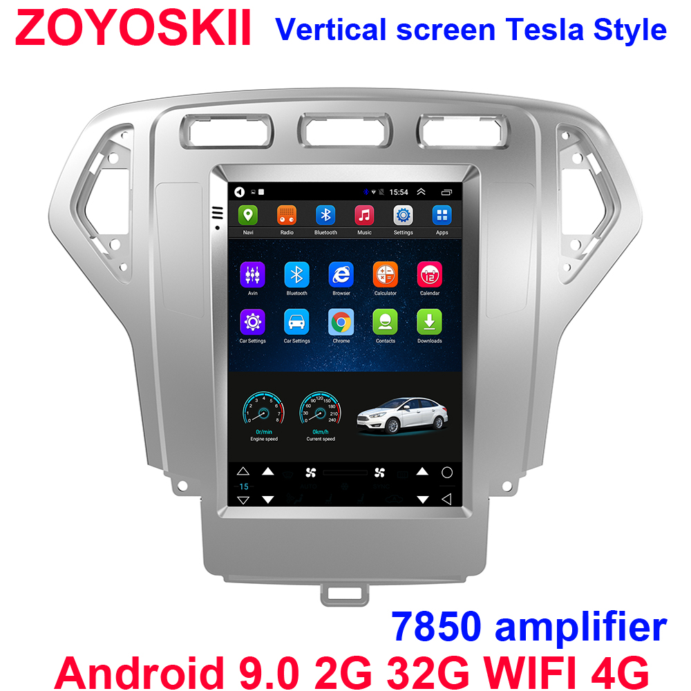 Silver Color Android 9.0 10.4 Inch Vertical Screen Car Gps Radio Bluetooth WIFI 4G Navigation Player For Ford Mondeo 2007-2010