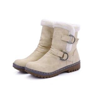 Image 5 - Winter Boots Women  Warm Velvet Woman Booties Shoes 2020 Mid calf Lace Up  Winter Women Shoes Female Botas Botines Ladies Shoes