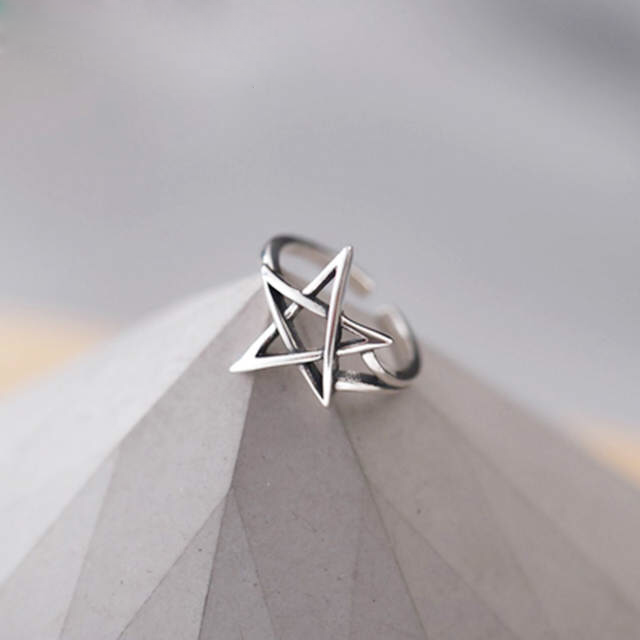 Exaggerated Personality 925 Sterling Silver David Star Rings For Women Wedding Jewelry Adjustable Antique Finger Ring Anillos