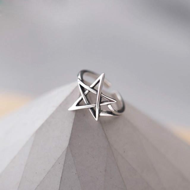 Overdreven Persoonlijkheid 925 Sterling Zilver David Ster Ringen Voor Vrouwen Bruiloft Sieraden Verstelbare Antieke Vinger Ring Anillos