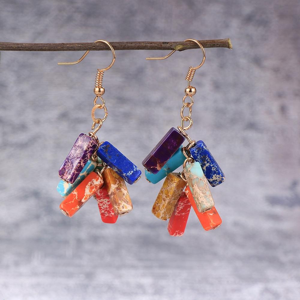 Fashion Women Earrings 7 Chakra Beads Yoga Reiki Rainbow Tube Natural Stone Dangle Earring Bohemian Drop Earrings 2020 Jewelry