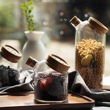 Coffee Bean Candy Food Jar Bamboo Lid Glass Jar Household Kitchen Sealed Food Storage Bottle Jar Grain Spice Kitchen Storage Jar