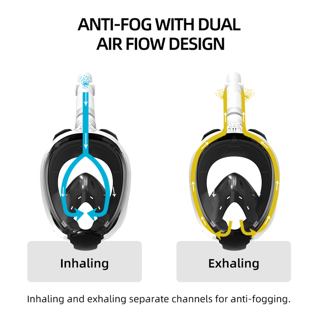 Copozz Diving mask Full Face Anti Fog Snorkeling Underwater scuba diving mask Swimming snorkel Equipment for Adult Youth
