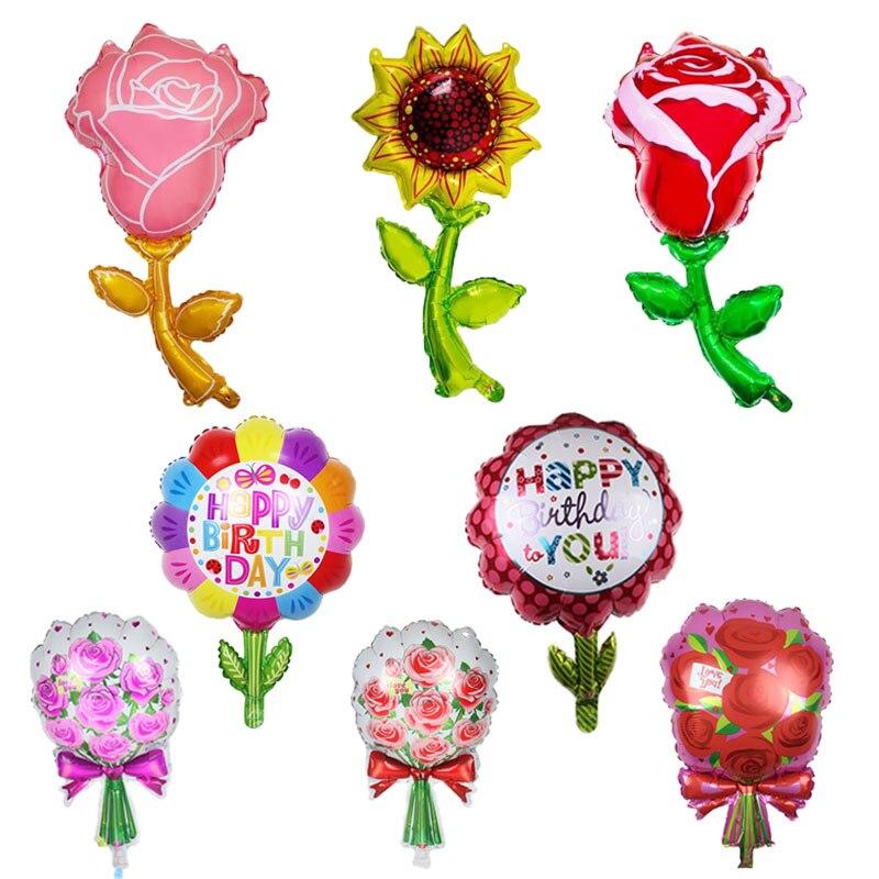 Воздушные шары с розово-красными цветами из фольги 94 см, воздушный шар в форме подсолнечника, вечерние украшения принцессы на день рождения,...