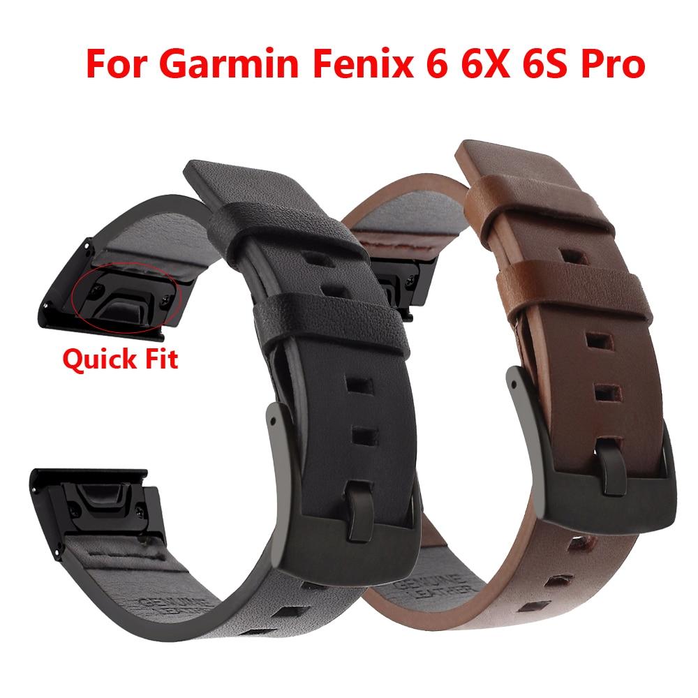 Quick Fit Genuine Leather Watchband 20/22/26mm For Garmin Fenix 6X Pro / 5X Plus/6S/ 5S/6 Pro 5/3/3HR Bracelet Watch Band Strap