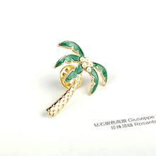 Lovely Cartoon Plant Pearl Coconut Tree Leaves Metal Enamel Brooches Badge Pins For Girls Kids Children