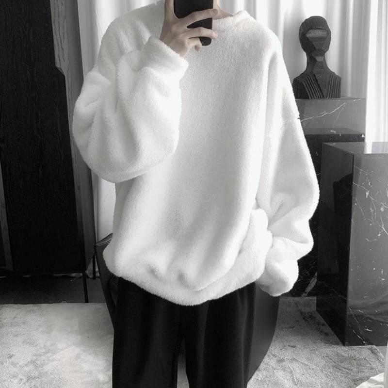 Plus Velvet Thick Hoodie Men's Warm Fashion Solid Color Casual O-neck Sweatshirt Men Streetwear Hip-hop Loose Pullover Hoodies
