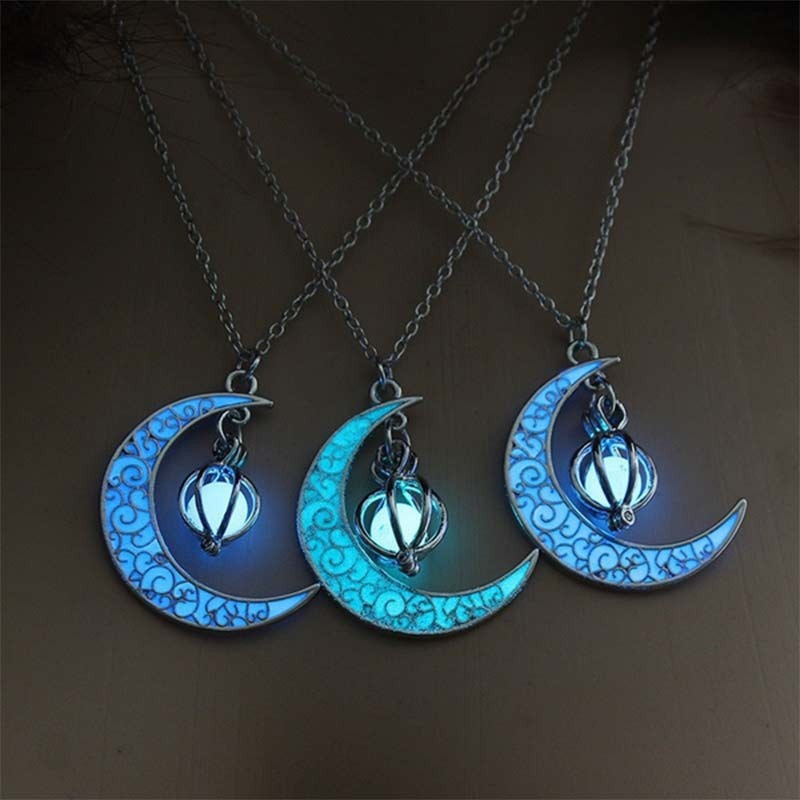 Moon Glowing Necklace Gem Charm Jewelry Silver Plated Women Halloween Pendant Hollow Luminous Stone Pendant Necklace