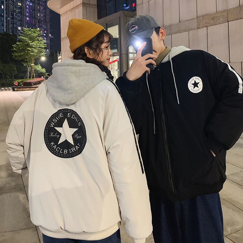 Winter New Style Casual Versatile Hooded Contrast Color Printed Couples Cotton-padded Clothes Trend INS Down Coat Men's