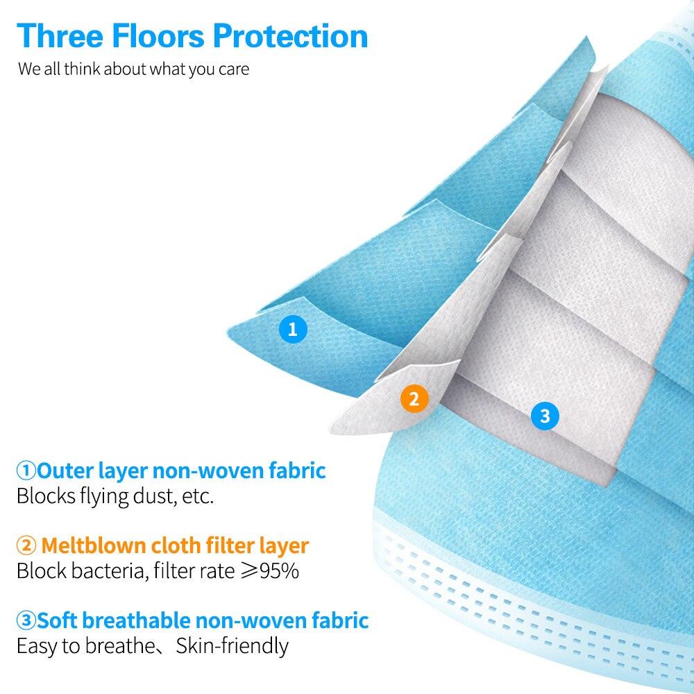 Máscara protetora não tecida do laço da orelha elástica das máscaras de pano de meltblown 10/50/100 dos pces descartáveis da anti-poeira das máscaras da boca 3-camada 5