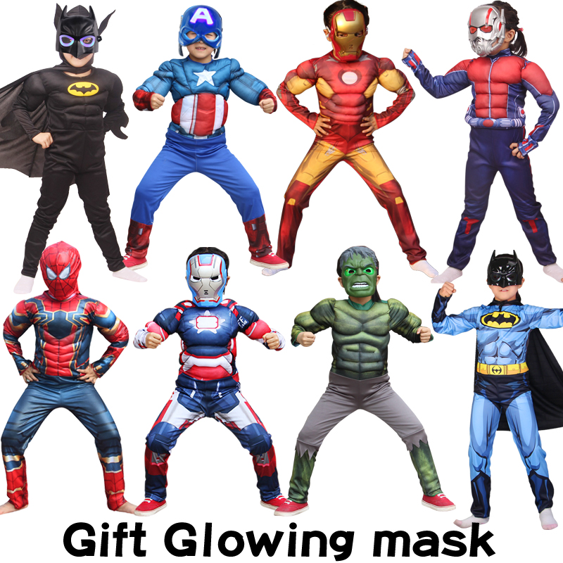 Captain America Avengers Cosplay Costume Boy Muscle Superhero Costume Spiderman Batman Superman Iron Man Captain Jumpsuit Child