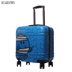 KLQDZMS 18inch Cute Cartoon  Rolling Luggage Spinner Children Carry On Travel Bag Kids Trolley Suitcase Wheels