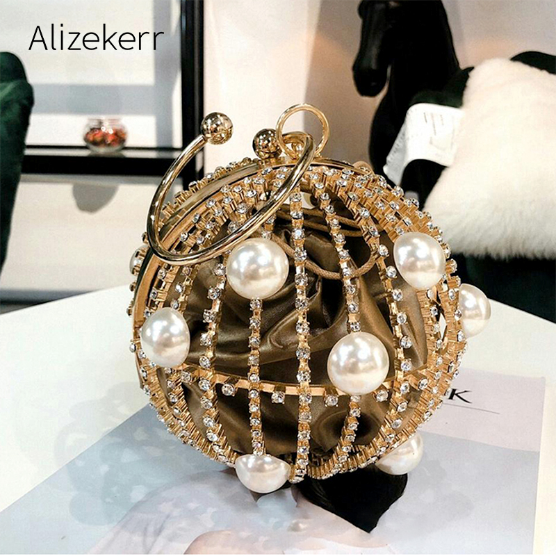 Hollow Out Spherical Cage Evening Bag Women 2019 New Fashion Pearl Diamond Personality Circular Clutch Bag Ladies Dinner Party